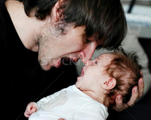 Vader dochter samen gezicht gelukkig kind Stockfoto © Calek