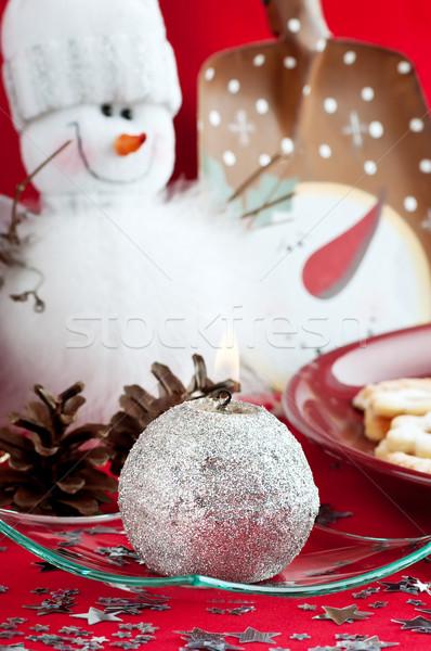 Kardan adam gümüş mum beyaz kış tüy Stok fotoğraf © Calek