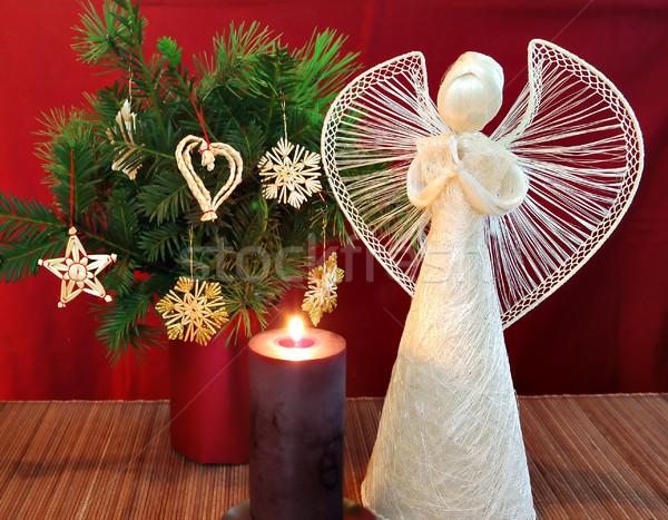 Engel kaars brandend christmas ornamenten boom Stockfoto © Calek