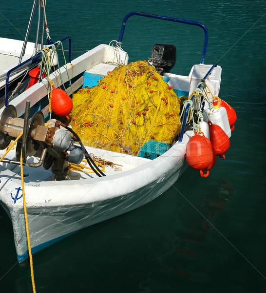 лодка белый желтый рыбалки пляж рыбы Сток-фото © Calek