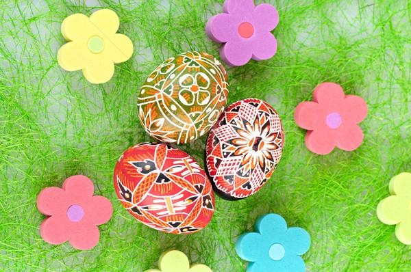 œufs de Pâques Pâques peint oeufs fleurs heureux Photo stock © Calek