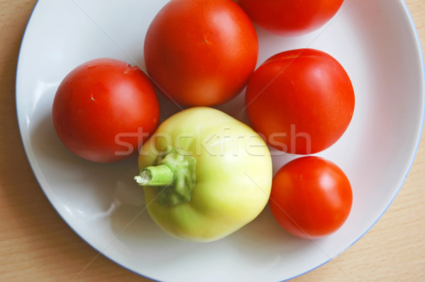 Vegetales tomates pimienta placa fitness grupo Foto stock © Calek