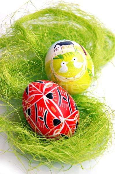 яйца два довольно окрашенный пасхальных яиц цветок Сток-фото © Calek
