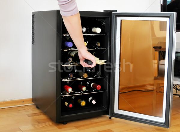 Bodrum şarap kız el kırmızı Stok fotoğraf © Calek