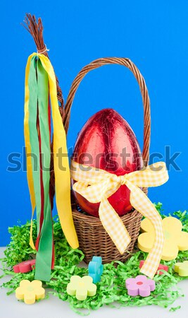 шоколадом яйцо красный яйца лента цветы Сток-фото © Calek