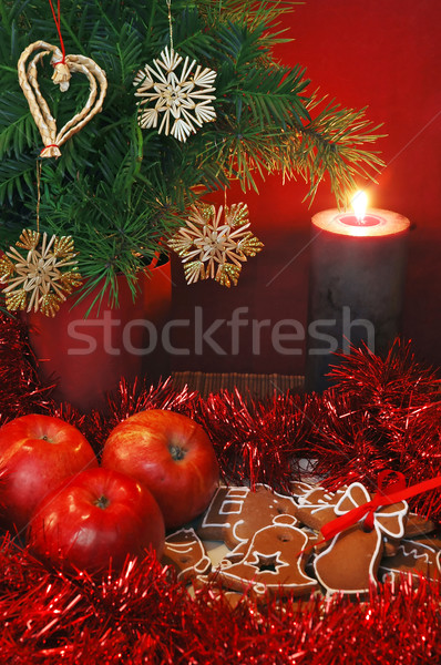 Apples, Gingerbread and candle Stock photo © Calek