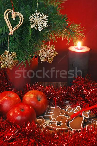 Appels peperkoek kaars christmas stilleven decoraties Stockfoto © Calek