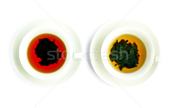 çay iki siyah yeşil çay yaprak Stok fotoğraf © Calek