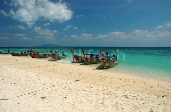 Bamboo island boats Stock photo © Calek