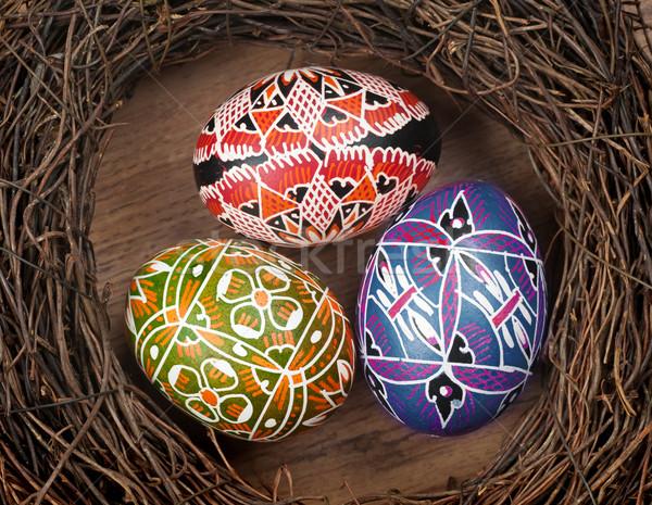 Pintado huevos nido feliz naturaleza Foto stock © Calek