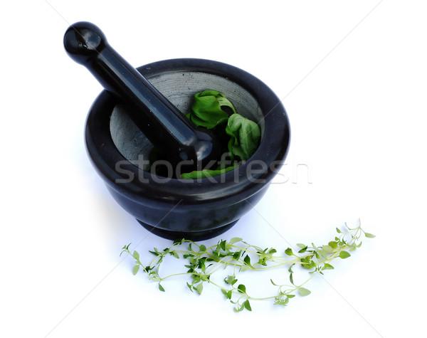 Kruiden gezondheid achtergrond keuken bladeren chef Stockfoto © Calek