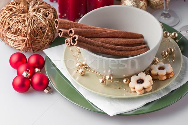 Navidad cookies alimentos grupo dulces placa Foto stock © Calek