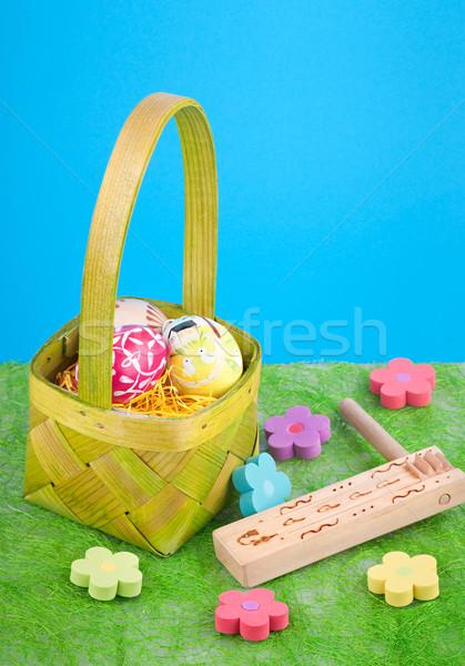 Pasen stilleven mand eieren gras natuur Stockfoto © Calek