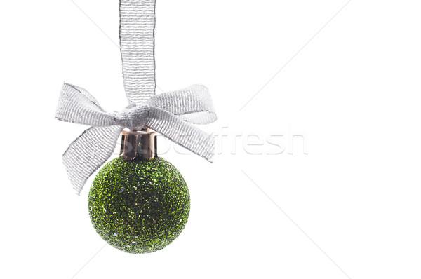 Decoratie christmas groene bal zilver lint Stockfoto © Calek