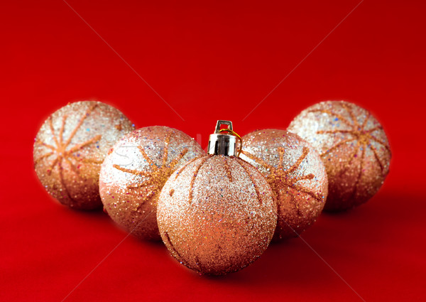Gouden bal christmas Rood glas Stockfoto © Calek