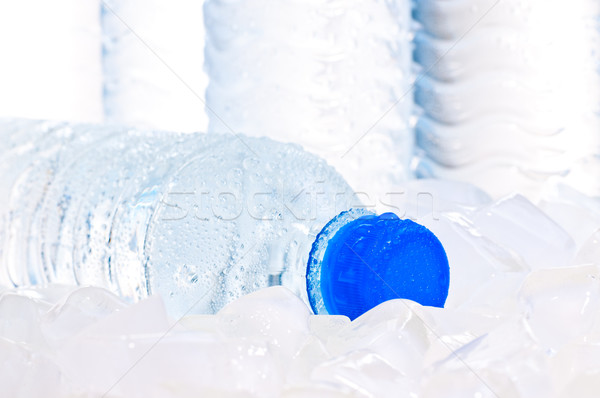 Mineral water bottle on ice close up Stock photo © calvste
