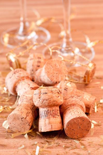 ストックフォト: シャンパン · 金 · グリッター · 装飾 · ワイン · ガラス