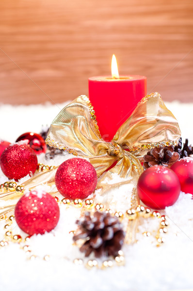 Rouge Noël neige bois or ornements Photo stock © calvste