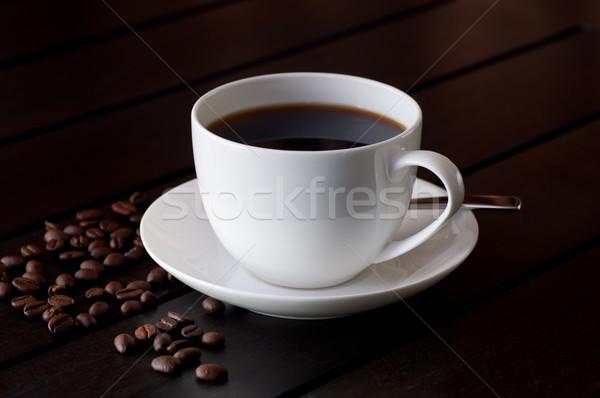 черный кофе таблице кофейный боб деревянный стол текстуры древесины Сток-фото © calvste