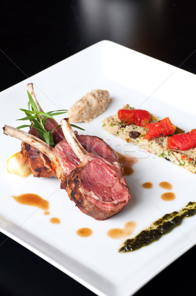 Australian lamb roasted with herbs , couscous and mutabbel Stock photo © calvste