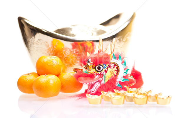 Chinese new year with dragon and ingot Stock photo © calvste