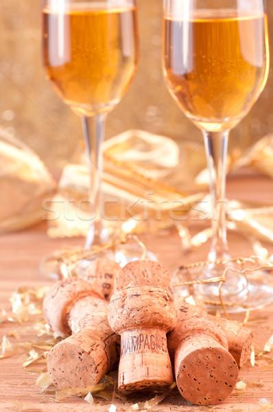 Pezsgő arany dekoráció csillámlás bor fa Stock fotó © calvste