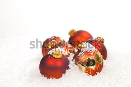 Piros karácsony hó arany díszítések üveg Stock fotó © calvste