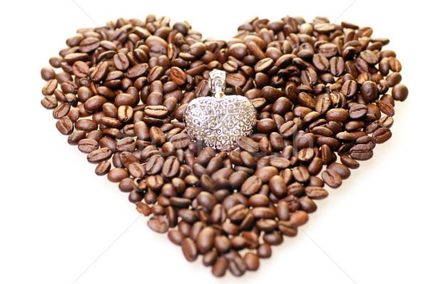 формы сердца кофе серебро кофе сердце пить Сток-фото © calvste