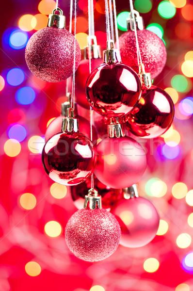 красный Рождества подвесной фары украшения Сток-фото © calvste