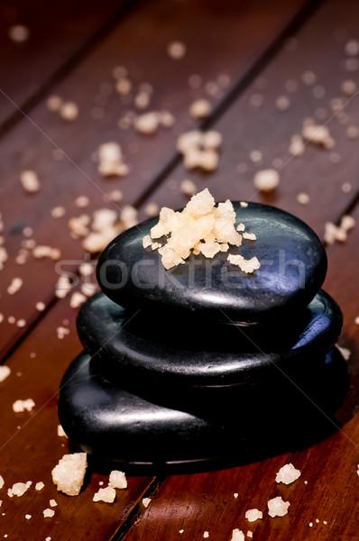 Spa bath salt on a stack of balance zen stones Stock photo © calvste