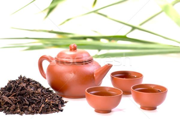 Ayarlamak Çin çay kil fincan Stok fotoğraf © calvste