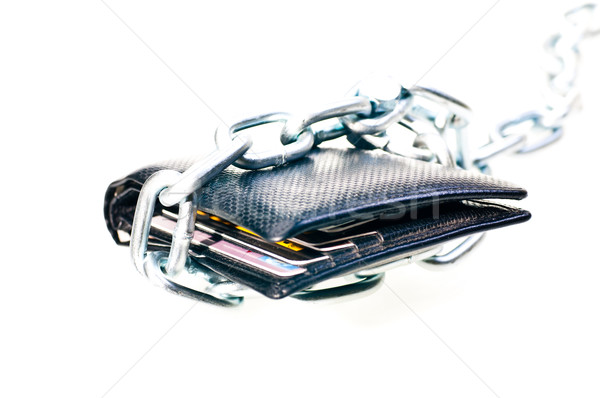 Stock photo: Chained black wallet