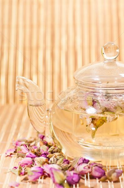 Chá vidro bule bambu Foto stock © calvste