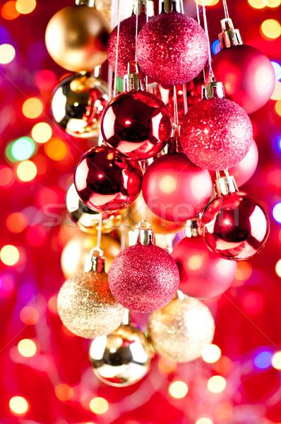 Vermelho ouro natal enforcamento luzes Foto stock © calvste