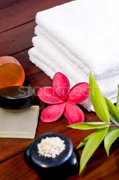 Fürdő zen kő fürdősó szappan piros Stock fotó © calvste