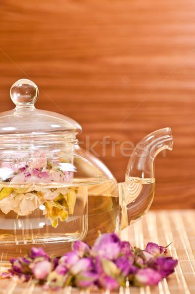 Pot çay bambu gül Stok fotoğraf © calvste