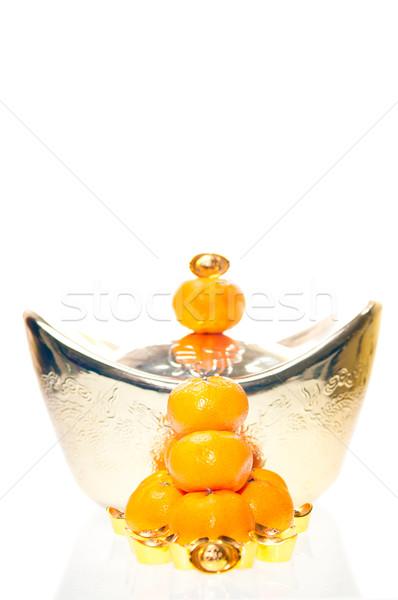 Egymásra pakolva mandarin boglya mandarin narancsok nagy Stock fotó © calvste