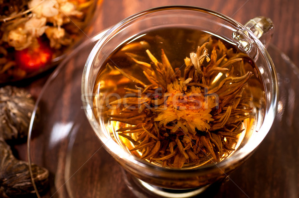 Stok fotoğraf: çay · fincan · ahşap · masa · çiçek