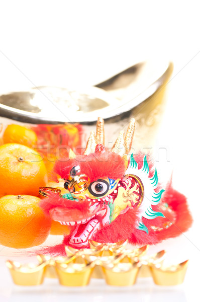 Chinese new year with dragon and ingot close up Stock photo © calvste