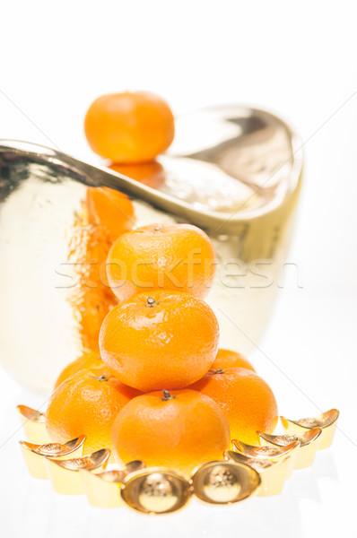 Jómódú kínai új év boglya mandarin narancsok nagy Stock fotó © calvste