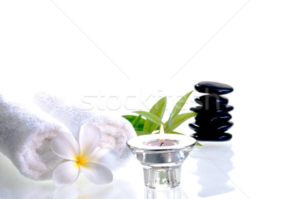 Spa черный zen камней белый цветок Сток-фото © calvste