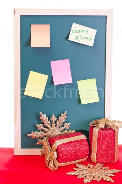 Karácsony hirdetőtábla színes cetlik iroda papír Stock fotó © calvste