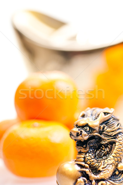 Chinese new year with ingot and dragon Stock photo © calvste