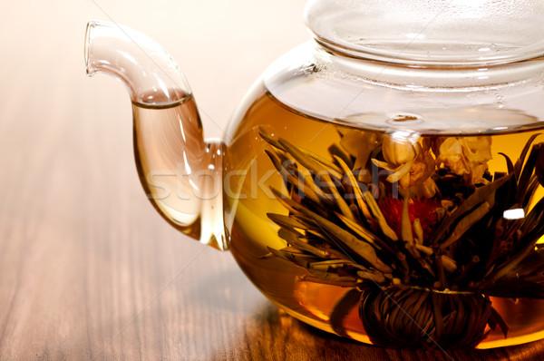 Blooming tea in glass teapot Stock photo © calvste