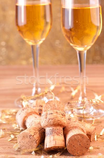 Champanhe celebração ouro brilho decoração vinho Foto stock © calvste