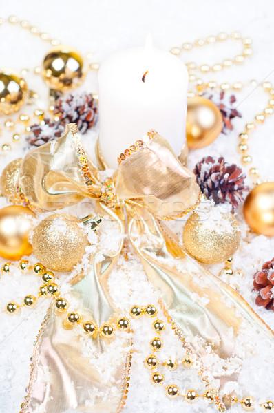 Altın Noel kar süslemeleri ağaç doğa Stok fotoğraf © calvste