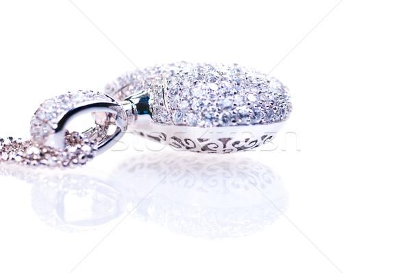 Heart shaped silver pendant  Stock photo © calvste