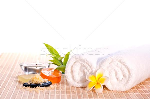 Fürdő zen kő fürdősó szappan virág Stock fotó © calvste