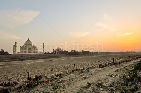 Taj Mahal tramonto mausoleo India imperatore amore Foto d'archivio © calvste