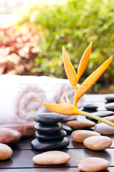 Black zen stones outdoor spa concept  Stock photo © calvste